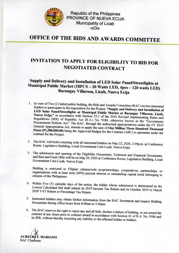 INVITATION TO APPLY FOR ELIGIBILITY TO BID FOR NEGOTIATED CONTRACR (18PCS-20WATTS LED, 4PCS 120 WATTS Brgay. Villarosa