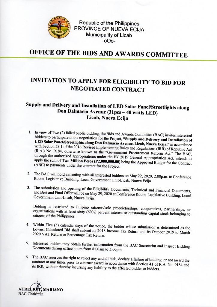 INVITATION TO APPLY FOR ELIGIBILITY TO BID FOR NEGOTIATED CONTRACT ( 31PCS-4- WATTS LED , Don Dalmacio Avenue